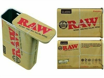 RAW Metal Slide Tin - 2 Containers - Storage Small Portable Hold Case Box Stash