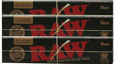 RAW Black Classic King Size Slim - 3 PACKS - Rolling Papers Ultra Thin Pressed