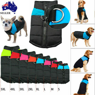 Large Dog Jacket Padded Pet Clothes Warm Windbreaker Vest Coat Winter AU