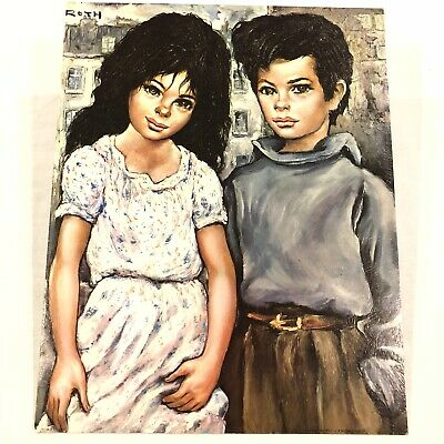 Vintage Retro 1960s 70s Kitsch Big Eyed Girl And Boy Picture Lithograph Print.