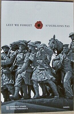 #2342a CANADA MNH Booklet Pane of 10 x 'P' Stamps: Lest We Forget