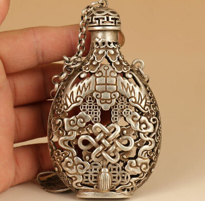 Rare Chinese Tibet-silver Copper Hand solid Carved Bat Statue Snuff Bottle