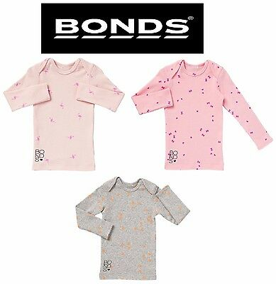 Bonds Baby Kids Girls Long Sleeve Ribbies Tee Top White Pink Grey Size 0 1 2