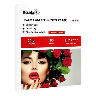 Koala Premium Matte Photo Paper 100 Sheets 8.5x11 Inkjet Screen Printing Canon