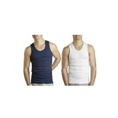 Mens Bulk Bonds 6 Pack Singlets Chesty Navy White Cotton Singlet Vest Size S-3Xl