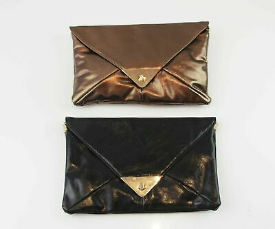 Womens Rectangle Envelope Clutch Brown Bronze Black Wedding Party Birthday Bag