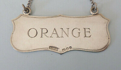 Massiv Silber 'Rhabarber Orange' Cordial Etikett London 1960