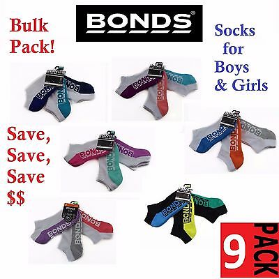 9 PACK BONDS KIDS SOCKS Boys Girls Low Cut  Sports White Blue Green Pink Grey