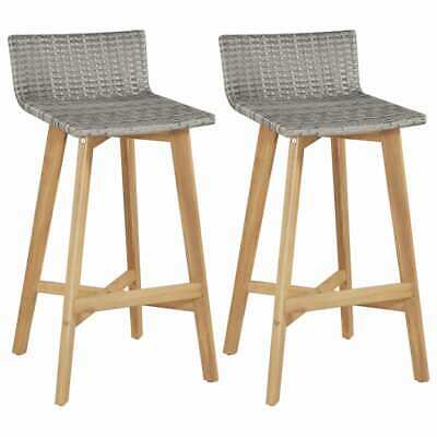 US Stock Bar Chairs 2 pcs Poly Rattan Solid Acacia Wood