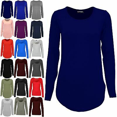 Womens Plain Casual Ladies Long Sleeve Curved Hem Jersey Pullover T-Shirt Top