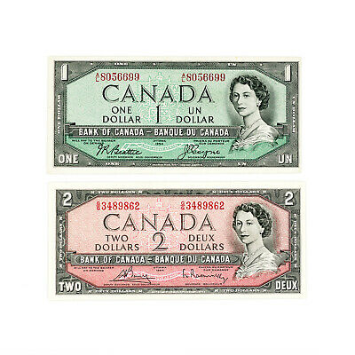 Set of 2 diff. Canada 1954 $1, $2 xf