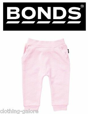 New Bonds Baby Girl Girls Pink Terry Trackie Cotton Pants Size 00