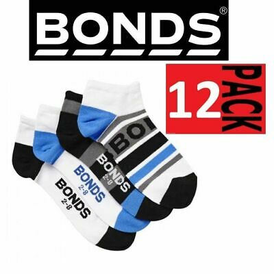 12 PAIRS x BONDS KIDS ACTIVE INVISI GRIP SOCKS Boys Blue Low Cut 10 years Plus