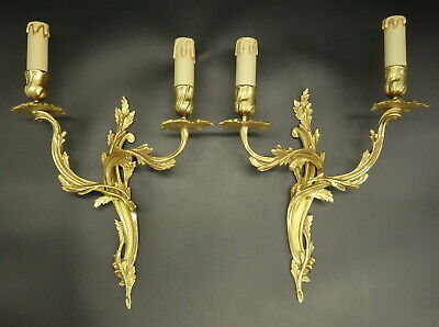 Large Pair Of Sconces Louis Xv Style - Bronze - French Antique