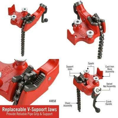 """Bench Chain Vise 1/8-2.5"""" Top-Screw Built In Crank Handle Rugged Cast-Iron Base"""