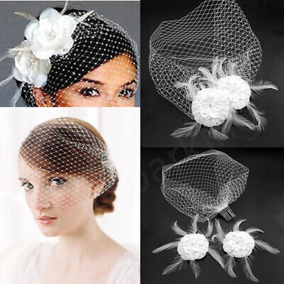 Bridal Wedding White Birdcage Face Veil Flower Feather Hair Comb Hairpin Jewelry