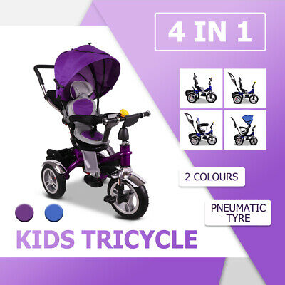 4 In 1 Baby Trike Stroller Prams Kids Toddler Tricycle Reverse Bike Ride On Toys