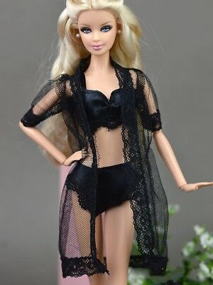 Doll Accessories Black Pajamas Lingerie Bra + Underwear Clothes For Barbie Doll