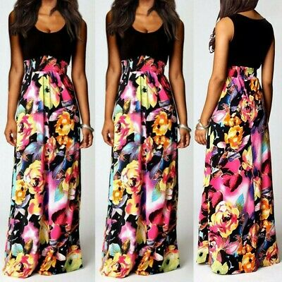 Summer Womens Boho Maxi V-Neck Sleeveless Beach Long Cocktail Party Floral Dress
