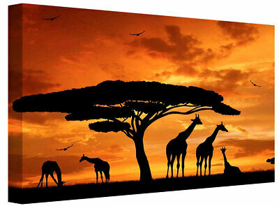African Silhouette Giraffe Family Painting Poster canvas wall art Picture print