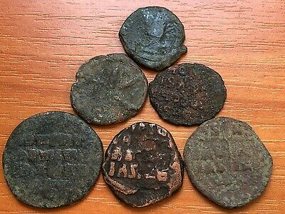 Lot of 6 Ancient Byzantine Medieval Bronze Coins AE Follis and AE Half-Follis