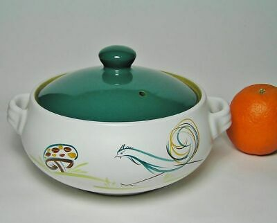 """DENBY """"FLAIR"""" Rooster 2 Pint STONEWARE CASSEROLE c1955~69 Signed A. College"""