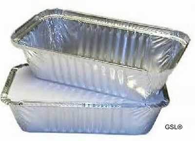GSL 100 x LARGE ALUMINIUM FOIL FOOD GRADE STORAGE CONTAINERS + LIDS - No6a