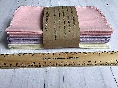 15 Pinks Cheeky Monkey Flannel Cotton Baby Wipes Family Cloth Hankies Washable