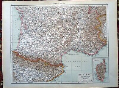 Antique MAP Plan ~ FRANCE FRENCH (Southern Part) & CORSICA ~ 1895 120+ Years Old