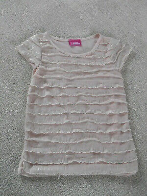 Girls Blush Pink Shimmer Layered Frill Short Sleeved Top Age 6 Years By Millie