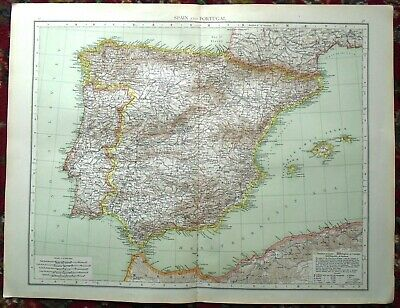 Antique MAP Plan ~ SPAIN & PORTUGAL ~ 1895 120+ Years Old