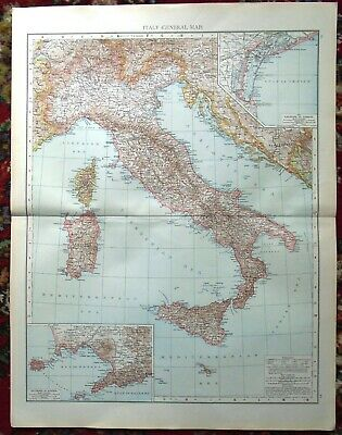 Antique MAP Plan ~ ITALY ITALIAN ~ 1895 120+ Years Old