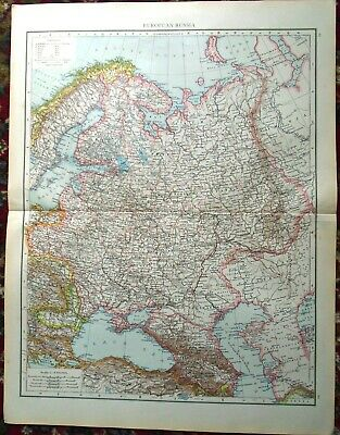 Antique MAP Plan ~ EUROPEAN RUSSIA Russian ~ 1895 120+ Years Old