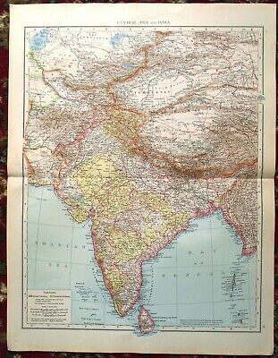 Antique MAP Plan ~ CENTRAL ASIA & INDIA Asia~ 1895 120+ Years Old (LARGE)