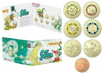 2019  MR SQUIGGLE & FRIENDS 7 COIN $1 & $2 1c COLOURED COINS set in FOLDER RAM