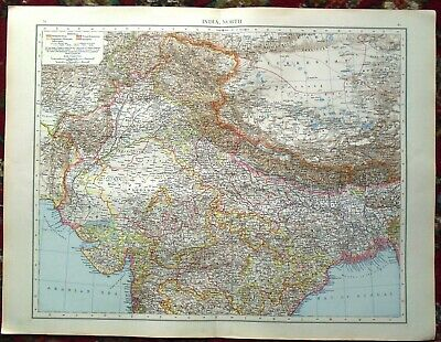 Antique MAP Plan ~ INDIA North Northern INDIAN ~ 1895 (LARGE) 120+ Years Old