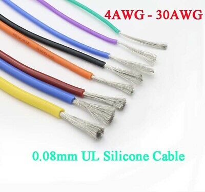 4-30 AWG UL Silicone Flexible Stranded Cable 0.08mm RC Model Wire 600V Colourful
