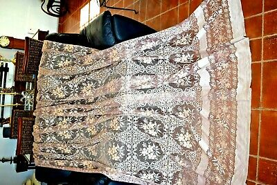 OLD FRENCH LACE CURTAN 88 wide ins 98 ins BROWN & GOLD