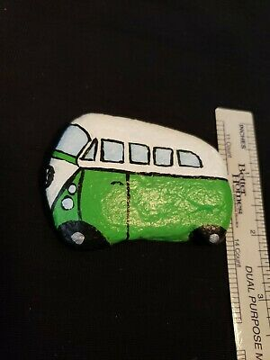 Hand Painted like a VW Bus on a rock/stone by Artist