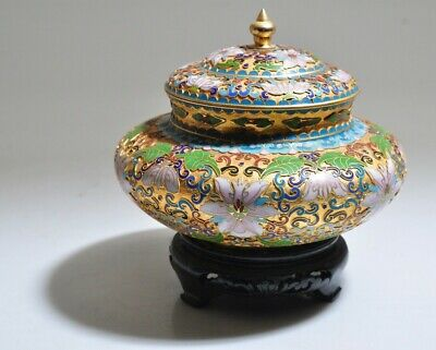 Cloisonne Enamel Bowl Flowers Chinese Vintage w/ Lid and Stand