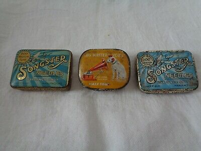 THREE VINTAGE GRAMOPHONE NEEDLE TINS & SOME NEEDLES -  2 x Songsters  1 HMV  -