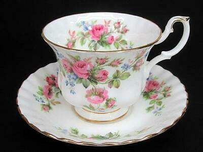 Royal Albert Moss Rose Tea Teacup Cup & Saucer c1960's