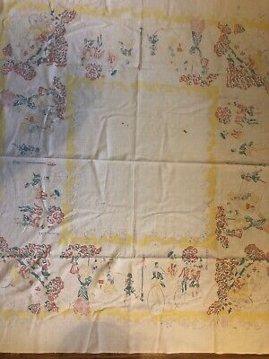 Vintage Square Yellow Brown Turquoise Shabby Cutter Kitchen Tablecloth