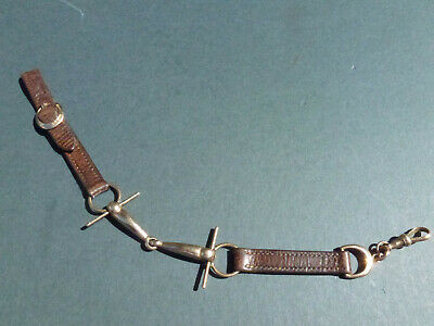 UNUSUAL EQUESTRIAN STYLE LEATHER AND 9ct GOLD WATCH CHAIN STIRRUP AND BIT STYLE