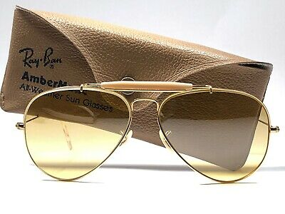 New Vintage Ray Ban Outdoorsman Gold Full Mirror Ambermatic Lenses 70S Us Bl
