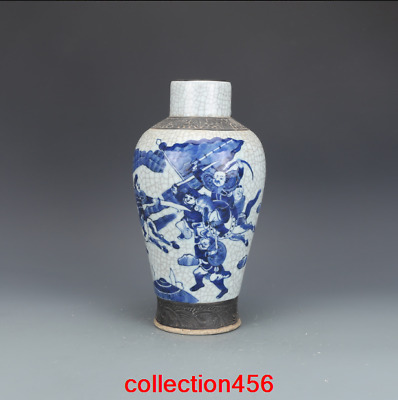 """10.6"""" old China antique Kangxi Blue and white Character pattern vase"""