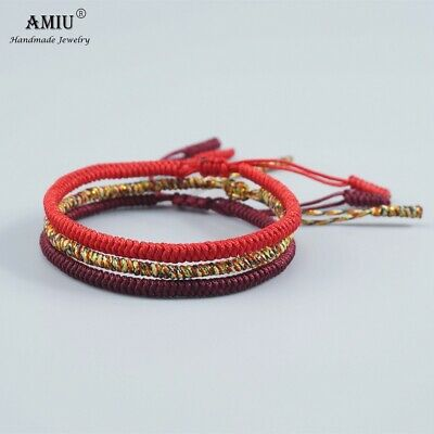 3PCS Multi Color Tibetan Buddhist Good Lucky Handmad Bracelets for men, women's