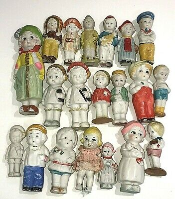 Lot of 20 Antique & Vintage All Bisque Miniature Dollhouse Dolls Character Dolls