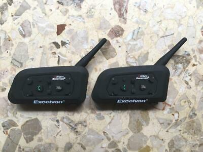 2x BT Bluetooth Casco interfono moto Interphone Headset 1200M 6 Rider Z4C4