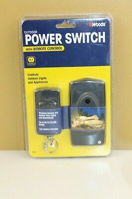 Woods Outdoor Power Switch with Remote Control Grounded #32555 New & Sealed